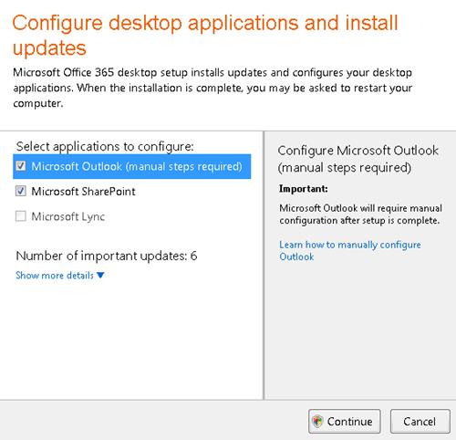 Mengkonfigurasikan aplikasi desktop dan memasang kemas kini