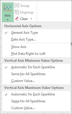 Butang paksi pada tab Reka Bentuk bagi Alat Sparkline
