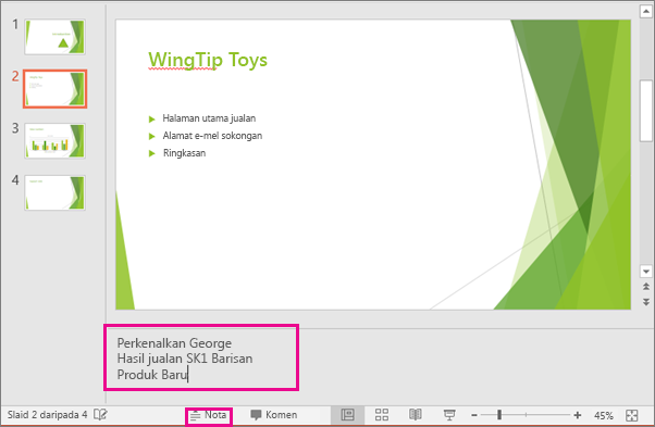 Shows the speaker Notes pane in PowerPoint