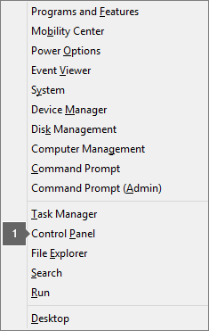 Senarai opsyen dan perintah kelihatan selepas menekan kekunci logo Windows dan X