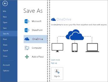 Menyimpan fail ke OneDrive