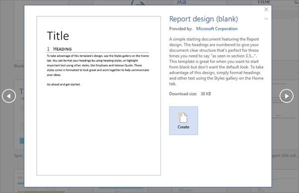 Menunjukkan pratonton templat Reka bentuk laporan dalam Word 2016.