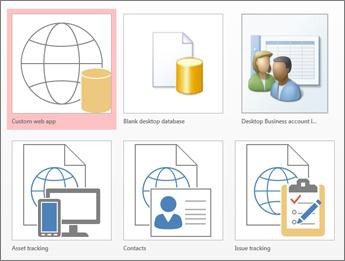 Pandangan templat pada skrin permulaan dalam Access