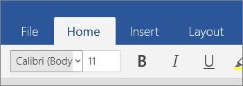 Tab Laman Utama pada Word Mobile dalam Windows 10