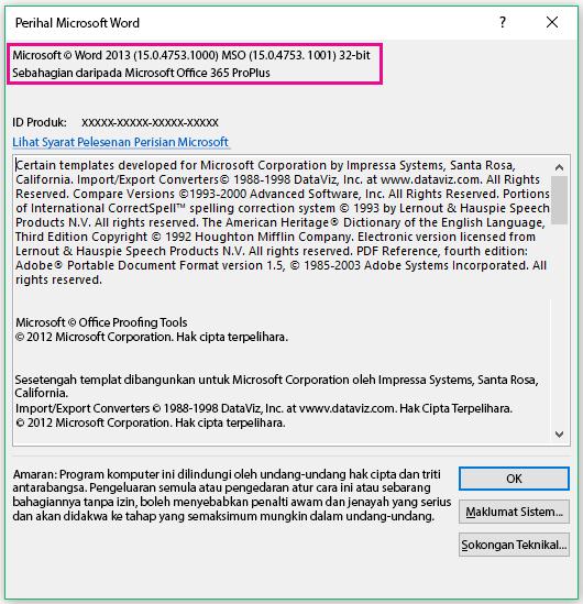 Tetingkap Perihal Microsoft Word