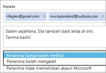 Memilih opsyen lihat sahaja dan daftar masuk diperlukan dalam e-mel jemputan