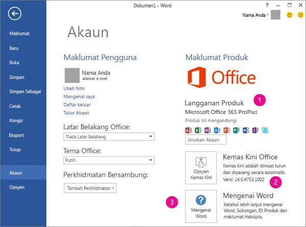 Fail > Akaun dalam langganan Office 365