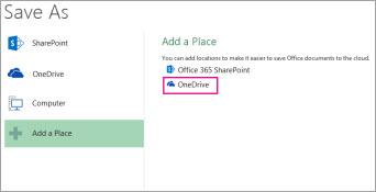Opsyen Simpan ke OneDrive