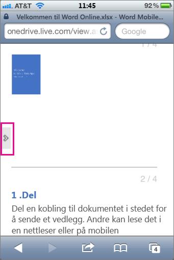 Trykk for å åpne verktøylinjen i Office Mobile Viewer-programmer