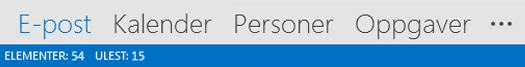 Navigasjonsfelt for Outlook 2013
