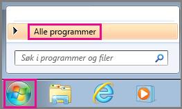 Søk etter Office-apper ved hjelp av Alle programmer i Windows 7