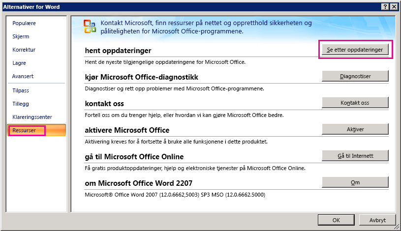 Ser etter Office-oppdateringer i Word 2007