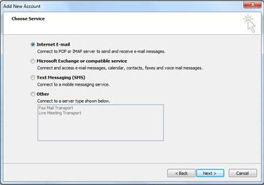 Velg server-alternativet i dialogboksen Legg til ny konto