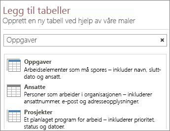 Søkeboks for tabellmaler i velkomstskjermbildet for Access.