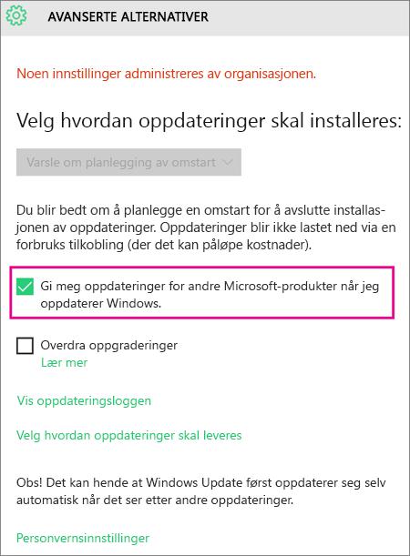 Windows Update Avanserte alternativer