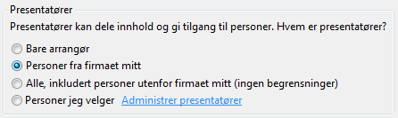 Angi alternativer for presentatør