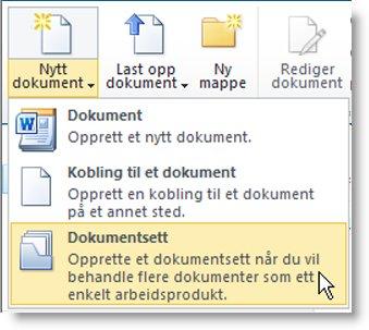 Kommandoen Dokumentsett på menyen Nytt dokument