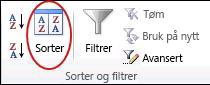 Sorter-kommandoen i gruppen Sorter og filtrer på Data-fanen i Excel