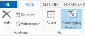 Planleggingsassistent-knappen i Outlook 2013.