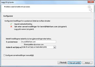 Dialogboksen Legg til ny konto med melding om at kontoen ikke kan konfigureres