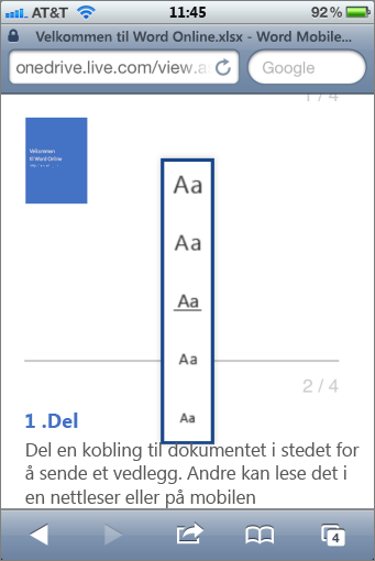 Velge en skriftstørrelse i Mobile Viewer for Word