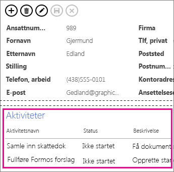 En visning i en Access-app med oppgaver vist i Kontroll for relaterte elementer.