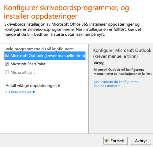Konfigurere skrivebordsprogrammer og installere oppdateringer