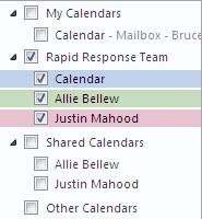 Kalendergruppe i navigasjonsruten