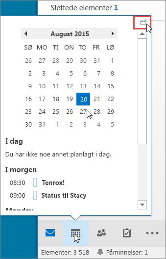 Kalenderoversikt med Forankring-ikonet markert