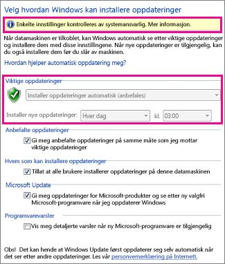 Innstillinger for automatisk oppdatering