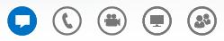 Skjermbilde av ikoner nederst i samtalevinduet