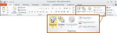 Tegning-gruppen i kategorien Hjem i PowerPoint 2010.