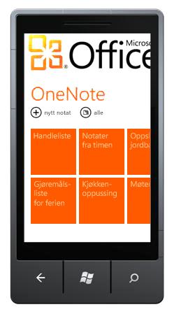 OneNote Mobile2010 Hub