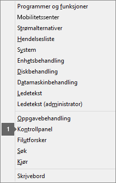 Liste over alternativer og kommandoer etter du har trykket Windows-logotasten og X