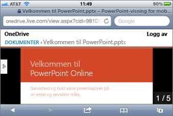 Lysbildefremvisning i Mobile Viewer for PowerPoint