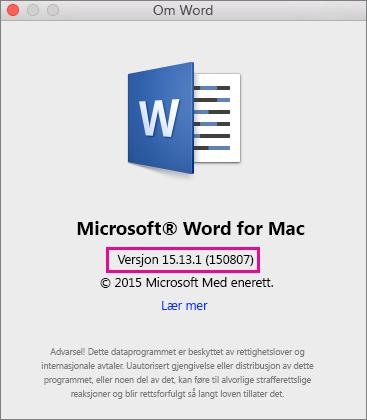 Word 2016 for Mac som viser Om Word-siden