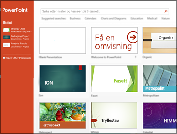 Startskjermen i PowerPoint 2013