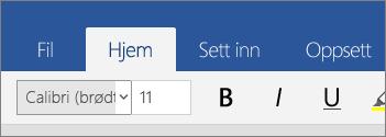 Hjem-fanen i Word Mobile i Windows 10