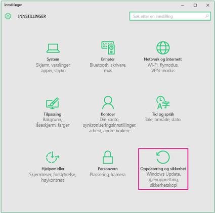 Angi Windows-oppdateringer i Windows 10