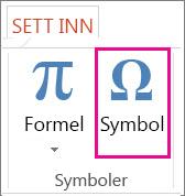 Sette inn et symbol