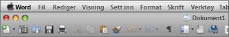 Hovedgrensesnittet for Word for Mac 2011