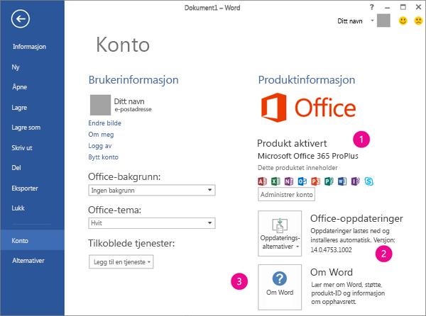 Fil >Konto i et Office 365-abonnement