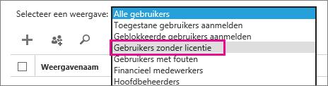 Schermafbeelding van de pagina Actieve gebruikers waarop het menu Beeld is uitgevouwen en de optie Gebruikers zonder licentie is gemarkeerd.