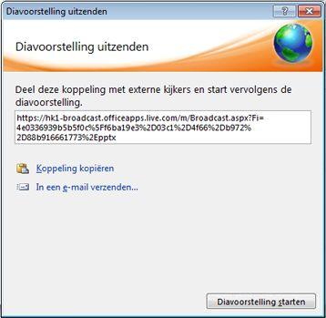 Het dialoogvenster Diavoorstelling uitzenden met een URL voor een diavoorstelling.