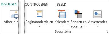 Schermafbeelding van de groep Bouwstenen op het tabblad Invoegen in Publisher.