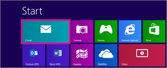 De startpagina van Windows 8 met daarop de tegel Mail