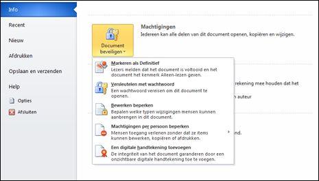 Knop Document beveiligen met opties