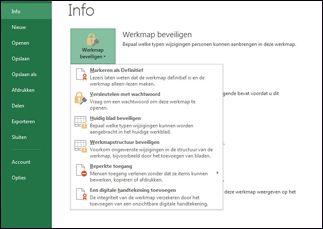 Knop Werkmap beveiligen met opties