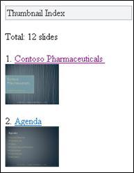 Miniatuurindex in de Mobile-viewer voor PowerPoint