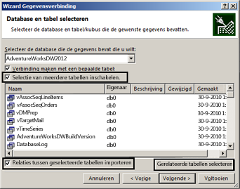 Het selectievakje Selectie van meerdere tabellen toestaan